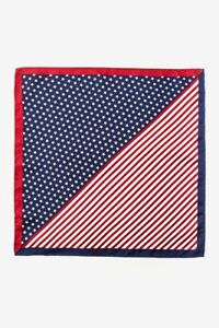 100% Silk American Flag USA Patriotic Stars & Stripes Handkerchief Pocket Square