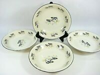 Hankook Htf Rare Set Of 4 Bowls Happy Cows Flower Patch White W Black Trim
