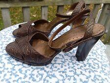 Franco Sarto Leather US 9.5 M Bronze Brown High Heels Brazil Formal Sandals Shoe
