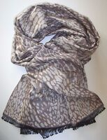 Weicher Damen Schal mit Leopardmuster - Top Qualität - Seide/BW/Viskose - Braun