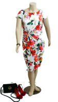 GRACE HILL Floral Fitted Midi Dress With Short Cap Sleeves | Size: 18