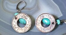 Pice India Coin Earrings 1943 & 1945 925 Sterling Silver Turquoise Hand Made