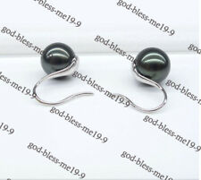 NEW AAAAA 8-9mm black green natural south sea pearl earrings 18kwhite gold