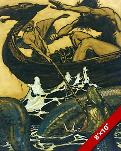 NORDIC MYTHOLOGY THOR & HYMIR V SEA SNAKE JORMUNGANDR PAINTING CANVAS ART PRINT