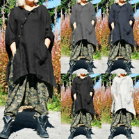 Plus Size Women Baggy Batwing Sleeve Cotton Tops Loose Shirt Ladies Tunic Blouse