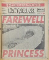 "New York Post ""Farewell Princess Grace Kelly Death Burial/Funeral 1982 Newspaper"