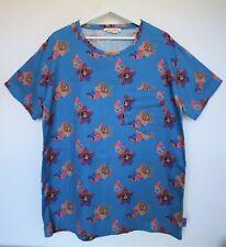 Marc Jacobs Blue & Orange Hawaiian Floral Cotton Short Sleeve T-Shirt Size L