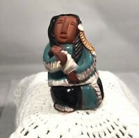 Native American Mother and Baby Figure Terracotta Pottery Signed Keena