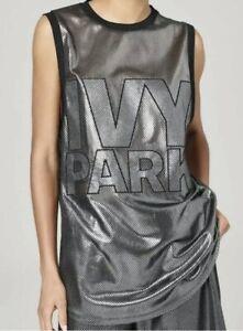 NWT Ivy Park Beyoncé Metallic Mesh Logo Oversized Tank Top Silver Black Sz Small