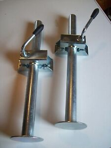 one  pair of trailer prop stands corner steadies & split clamps 34mm dia X 450mm