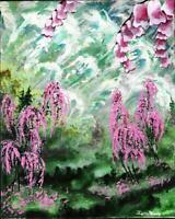 8X10 OIL OR ACRYLIC PAINTING ON CANVAS BOARD WHIMSICAL LANDSCAPE SIGNED UNFRAMED