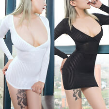 Sexy Women Secretary Costume Open Bust Striped Sheer Bodycon Mini Dress Clubwear