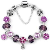 Women's Purple Flower Charms Bracelet European Crystal Charm Bangle Gifts