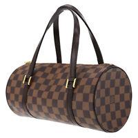 LOUIS VUITTON Papillon Hand Bag PM Damier Leather Brown N51304 Auth #AC586 Y