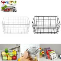 Iron Storage Basket Metal Wire Mesh Basketry Bathroom kitchen Tray Organizer UK