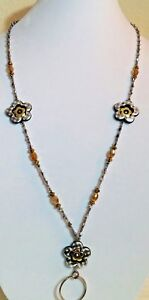 Handmade Lanyard & Earrings Set Gold & Grey Acrylic Beads,Flower Power,ID Badge