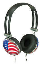Sound Lab USA American Flag Design Crystal Effect Bling Stereo Music Headphones