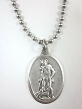 """St Lazarus Medal Italy Pendant Necklace 24"""" Chain Gift Box & Prayer Card"""