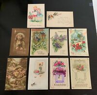 Lot of 10 Original Vintage c. 1920s Postcards - Happy Birthday Greetings - Lot C