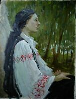 Russian Ukrainian soviet Oil Painting impressionism female portrait girl garden