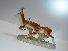ROYAL DUX Porzellan Figur REH REHBOCK  springend 50er  figurine deers 50s 60s