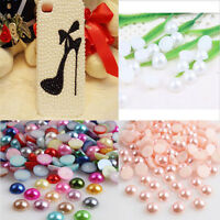 Wholesale 2000pcs Half-round Flatback Acrylic Pearl For Nail Art Phone Hot Beads