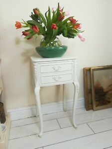 Provencal 2-Drawer White Table Antique White French Bedside Table