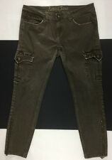 Antique Rivet Bailey Cargo Milatary Green Low Rise Skinny Leg Womens Jeans Sz 34