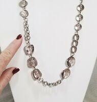 Asymmetrical Smoky Acrylic Crystal Bead and Silver Tone Chain Link Necklace
