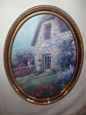 Home Interiors Oval '' Girls In Front of Stone Cottage '' Picture Gorgeous