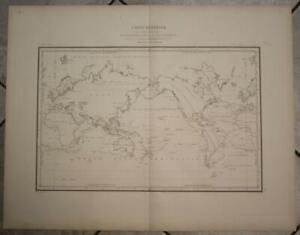 1848 AMBROISE TARDIEU LARGE ANTIQUE LITHOGRAPHIC  WORLDMAP MERCATOR'S PROJECTION