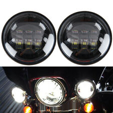 "2x 4-1/2"" Chrome 4.5"" LED Auxiliar Spot Fog Passing Light For Harley Motorcycle"