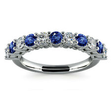 0.98Ct Blue Sapphire 14k White Gold Womens Eternity Band Diamond Rings Size N
