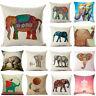 Elephant Vintage Pillow Case Cotton Linen Sofa Throw Cushion Cover Home Decor