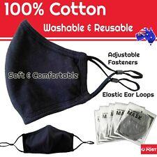 Face Mask Washable, 100% cotton, Adjustable Size, Reusable, Adult  - Black