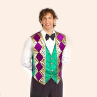 MardiGras Party Tuxedo Vest Adult Men Costume Croupier Casino PURPLE GREEN GOLD
