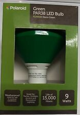 NEW Polaroid LED PAR38 GREEN FLOOD light bulb outdoor rated weatherproof 9 watts