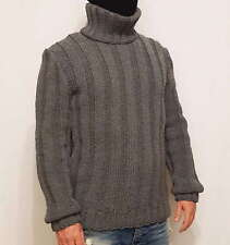 Hand Knitted CASHMERE 100% WOOL mens LONG sweater with turtleneck elastic jumper