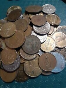 Lot of 10 POUNDS Used Tokens  Arcade Coins Car Wash Others FREE SHIPPING
