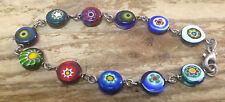 Glass Disc Beads Flat Colorful Link Bracelet MWS SMW Italy Italian Mexico Help