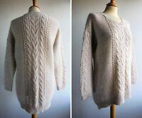 M&S INDIGO Mohair Wool Blend Long Jumper Top Dip Hem Col Neutral Size 14