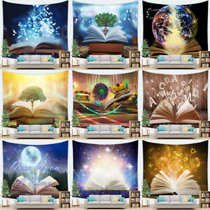 Magic Book Forest Tree Wall Hanging Fantasy Music Notes Tapestry Yoga Mat Poster