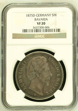 1875 D Germany Bavaria - 5 Mark Large Silver Crown - NGC Very Fine VF 20