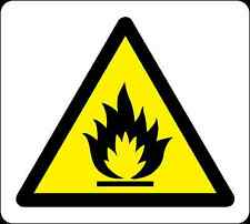 Health and Safety Warning Sticker yellow Warning Flammable  Sticker