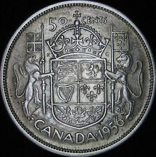 1956 XF+ Canada Silver 50 Cents (Fifty, Half) - KM# 53 - Free Shipping - JG