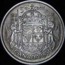 1956 XF+ Canada Silver 50 Cents (Fifty, Half) - KM# 53 - JG