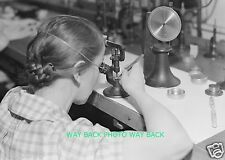 "VINTAGE 1936 PHOTO AT HAMILTON WATCH COMPANY IN LANCASTER, PA - 8"" by 10"""