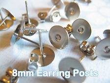 Surgical Stainless Steel 8mm Flat-Pad Earring Posts and Backs findings 48pcs