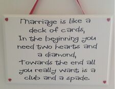Marriage is like a deck of cards - Handmade wooden plaque - Funny wedding gift