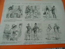 Gravure 1880 - caricature vignette Je remplis l'aquarium avec l'eau de Vichy